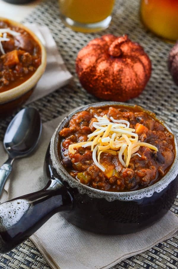 Spicy Pumpkin Sweet Potato Chili from The Crumbly Cupcake