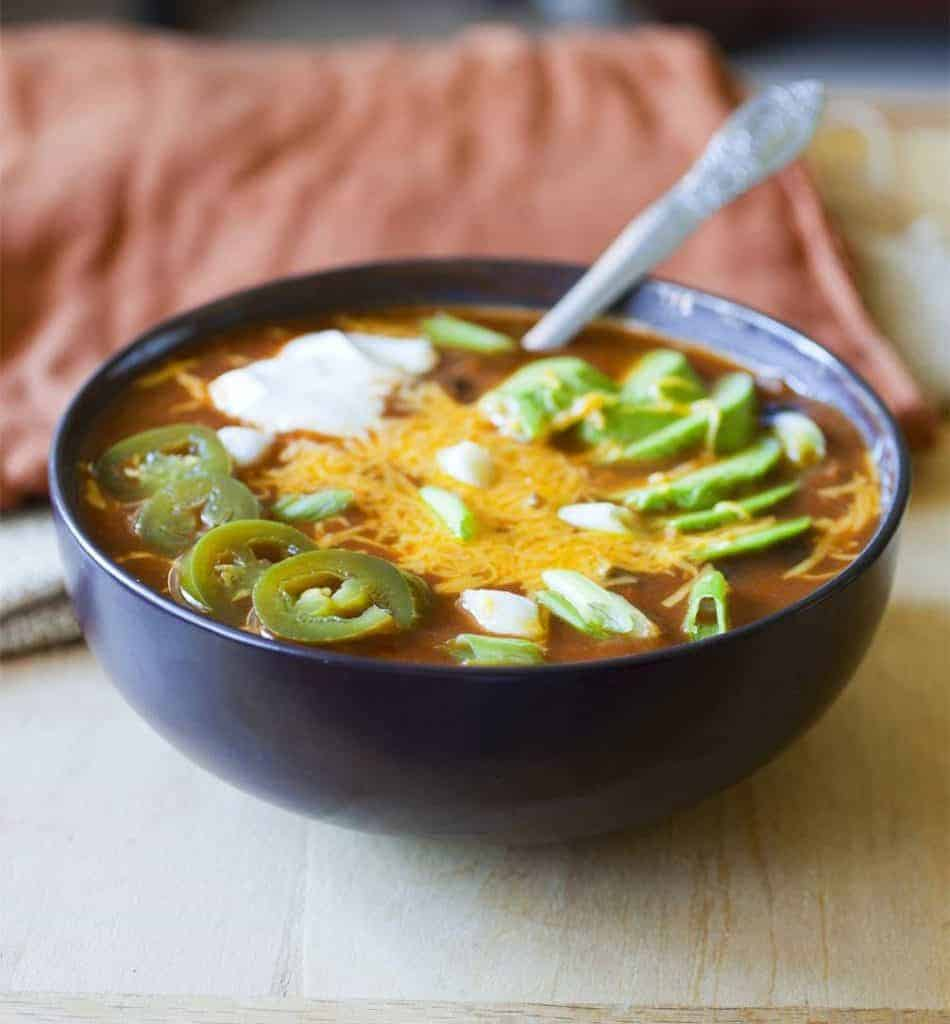 Slow Cooker Beef & Bacon Chili from The Partial Ingredients