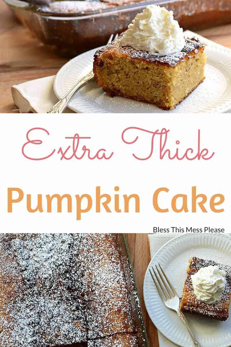 Image of Two Photos of Extra Thick Pumpkin Cake