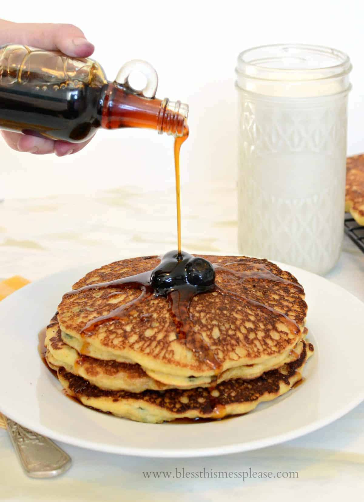 Image of Blueberry Cornmeal Pancakes with Maple Syrup