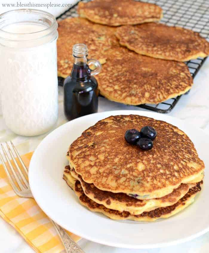 Image of Blueberry Cornmeal Pancakes on a Plate