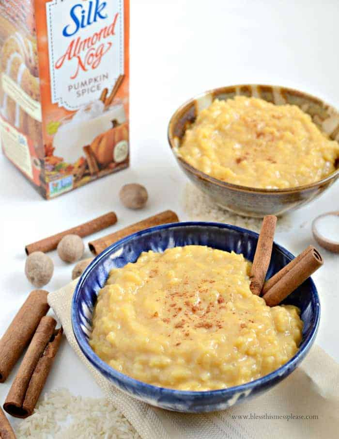 3 Ingredient Pumpkin Spice Rice Pudding (dairy and egg free)