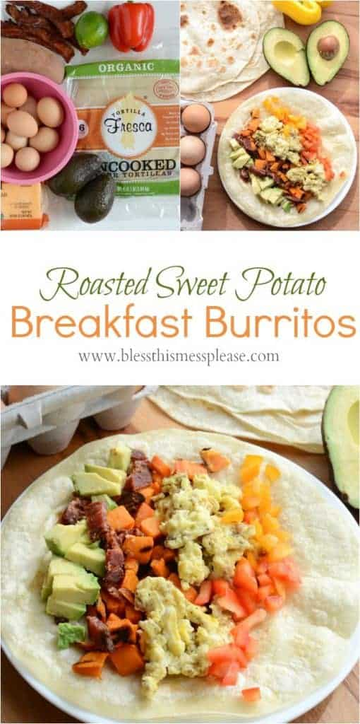 PHealthy Roasted Sweet Potato Breakfast Burrito Recipe done in 20 minutes and the perfect breakfast for dinner meal