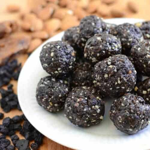 Blueberry Muffin Date Balls (healthy, no-bake treat)