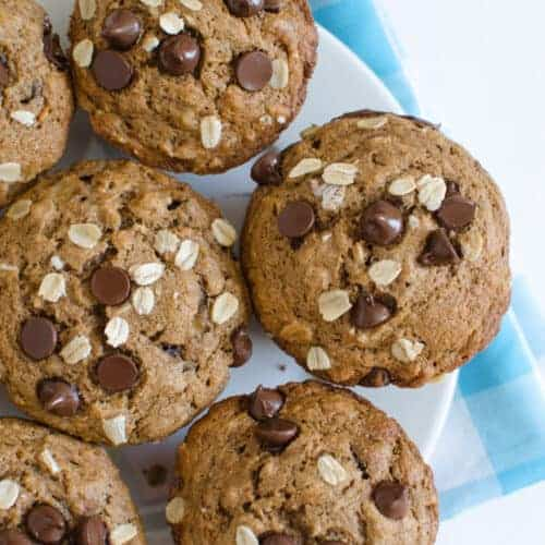 Maple Sweetened Healthy Banana Muffins (with or without chocolate chips)