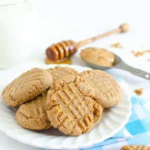 Honey Sweetened Peanut Butter Cookies (whole wheat flour)