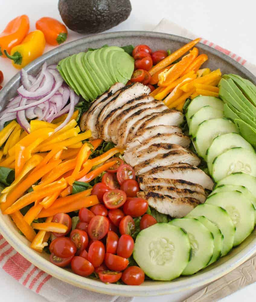 Grilled chicken salad is one of my favorite main dishes to serve in the warm months of the year.