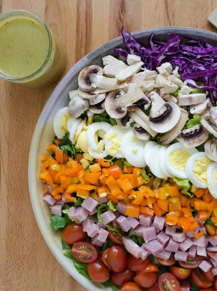 Image of rainbow salad with honey mustard dressing