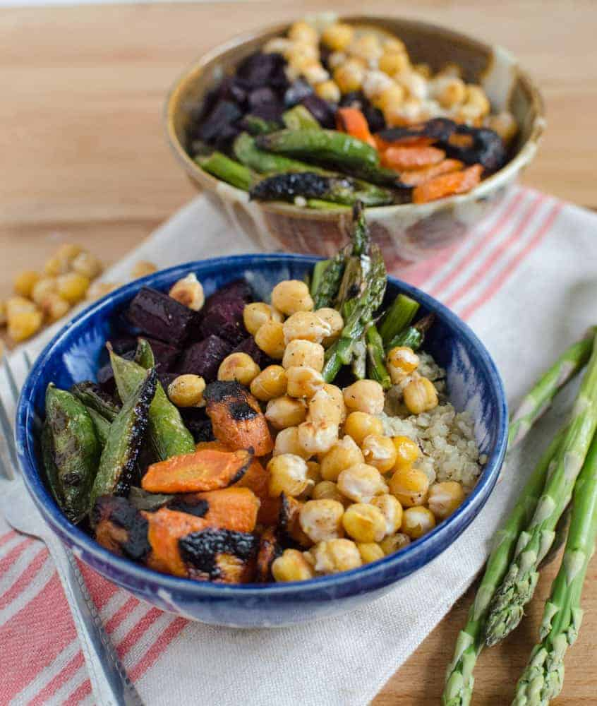 Roasted Chickpea and Vegetable Quinoa Bowls recipe (Meatless/GF) reheats great so make a lot and eat it all week for lunch
