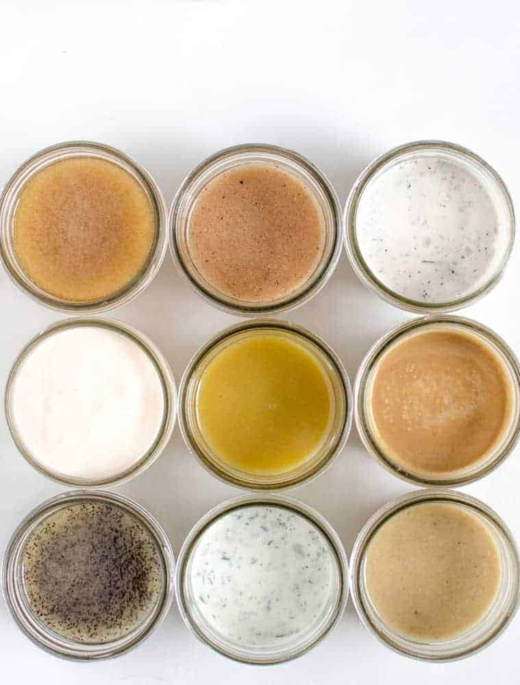 9 homemade salad dressing recipes that you'll make over and over again. Recipes include ranch, creamy Italian, honey poppy seed dressing and more!