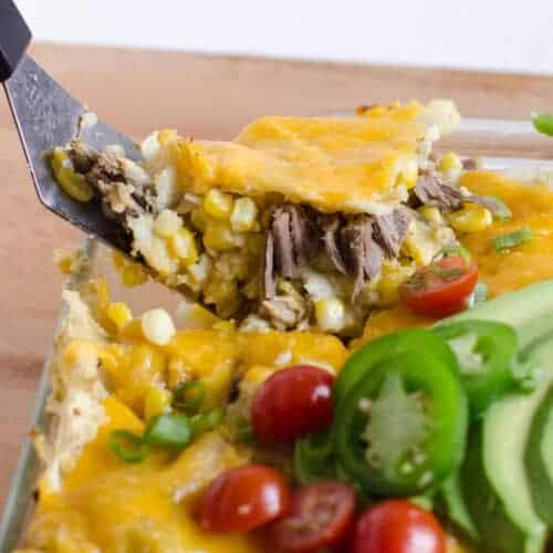 Easy Shredded Meat & Corn Enchilada Bake