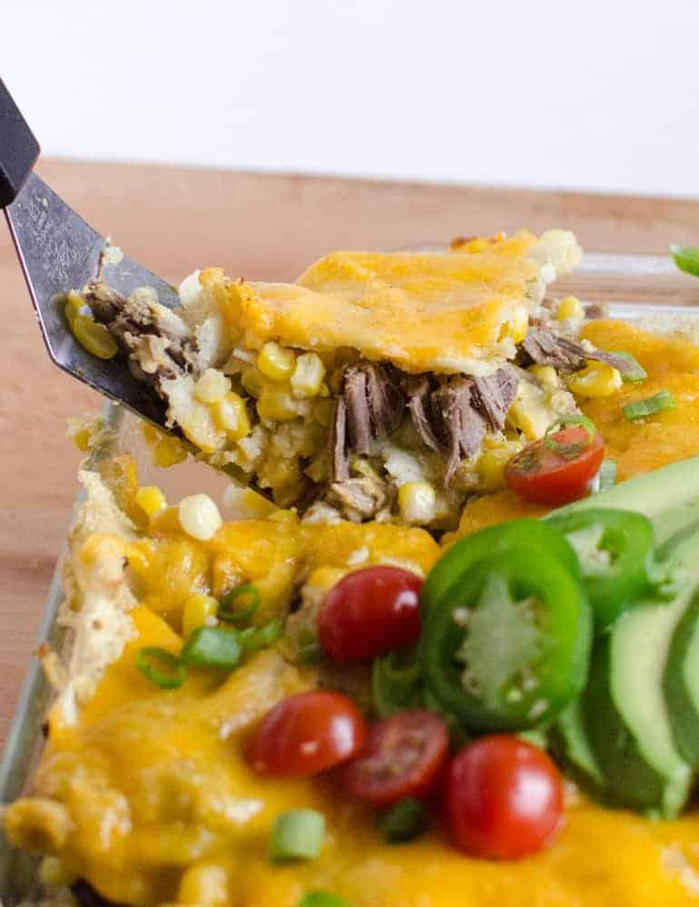 Image of a Shredded Meat & Corn Enchilada Bake