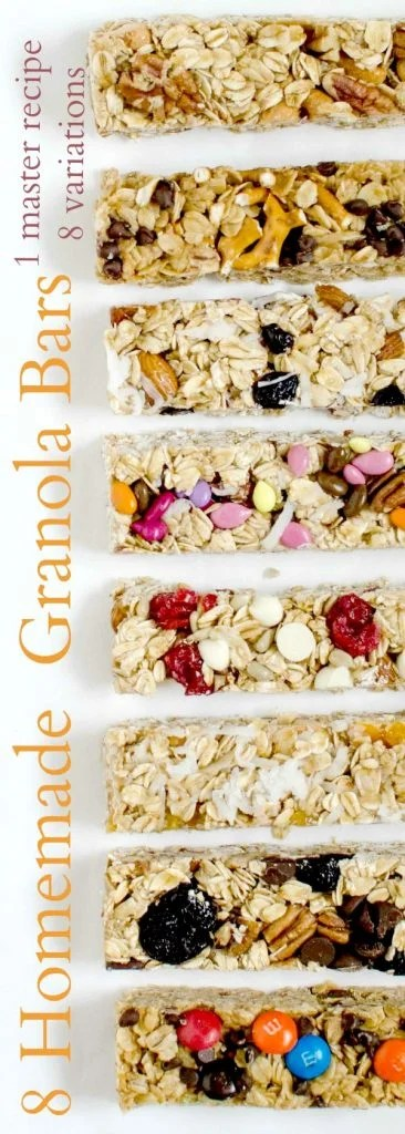 Title Image for 8 Homemade Granola Bars with images of 8 different homemade granola bars