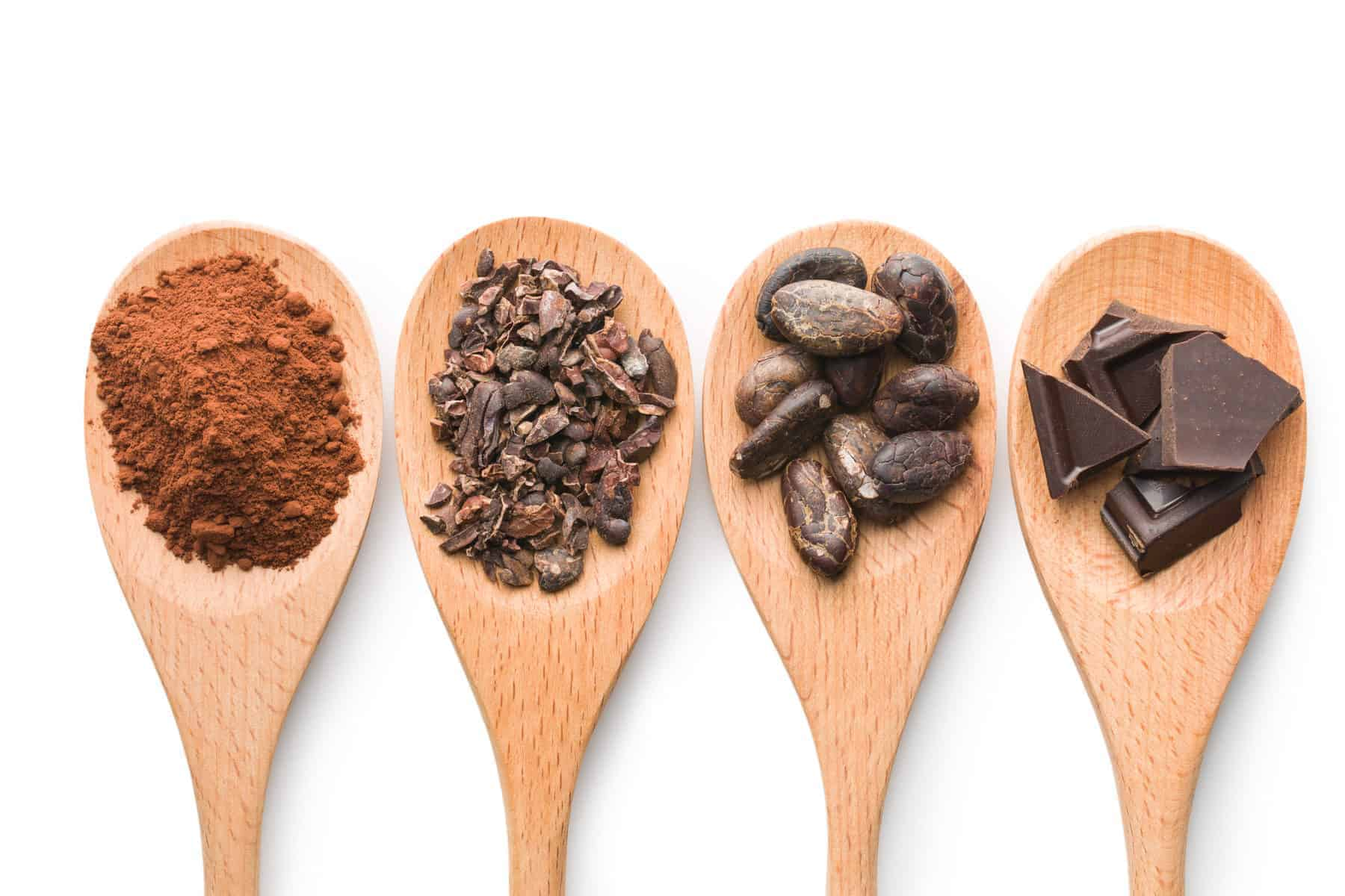 cocoa and dark chocolate in wooden spoons