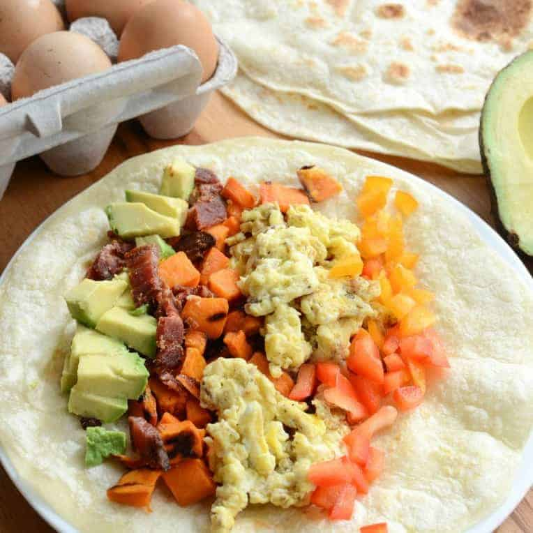 Healthy Roasted Sweet Potato Breakfast Burritos