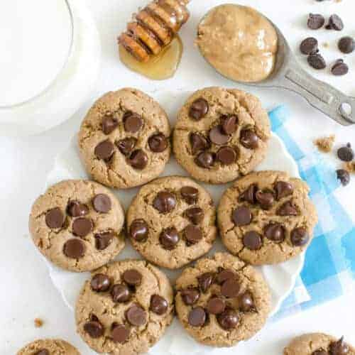 Whole Wheat Peanut Butter Cookies with Chocolate Chips