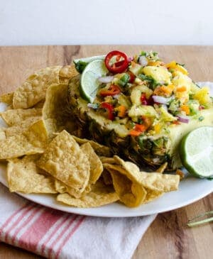 Pineapple salsa has sweet, spicy, savory, and salty flavors all mixed into one magical dish. Serve it with chips or over your favorite Tex-Mex recipe.