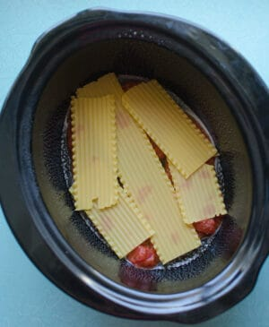 Pot of vegetables and lasagna noodles