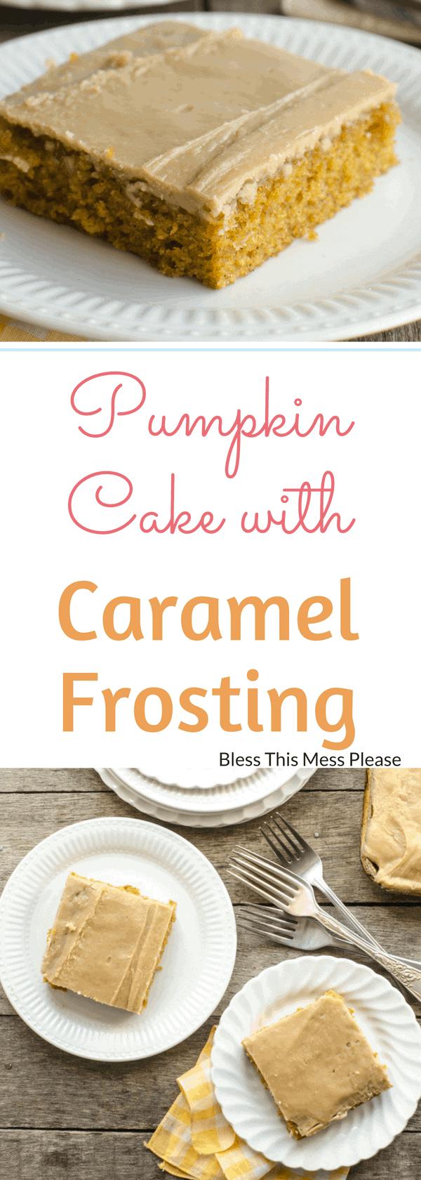 Pumpkin Sheet Cake with Caramel Frosting