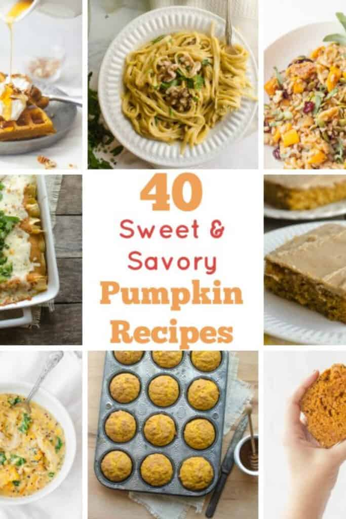 Title Image for 40 Sweet and Savory Pumpkin Recipes and eight examples of pumpkin recipes