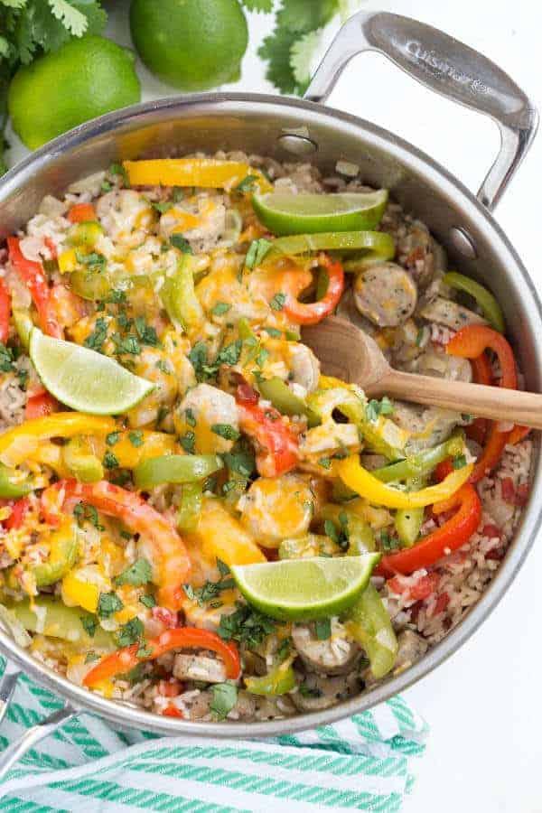 One Pot Dinner - Fajita Chicken Sausage and Rice