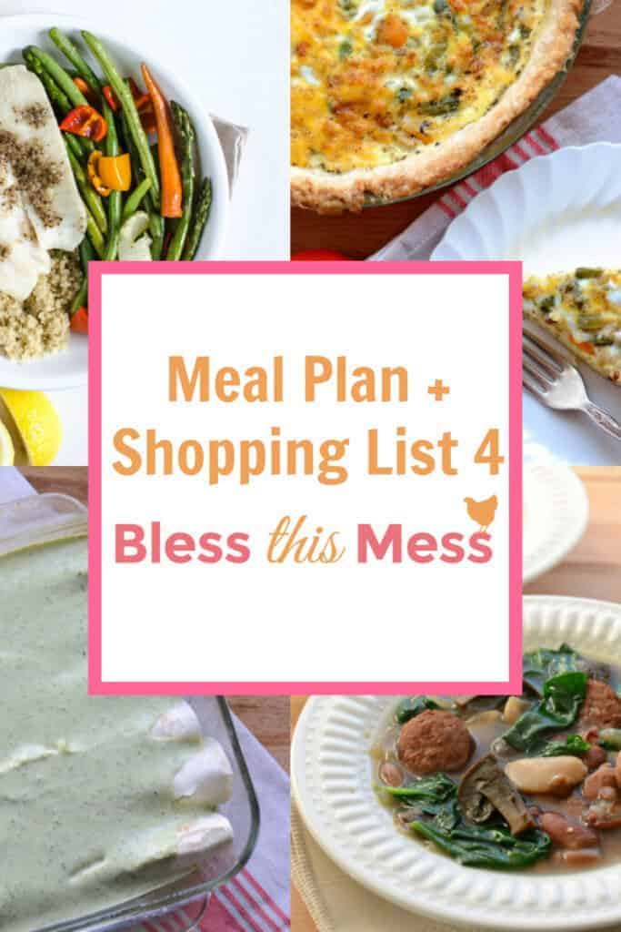 Title Image for Meal Plan + Shopping List 4 with examples of four different meals