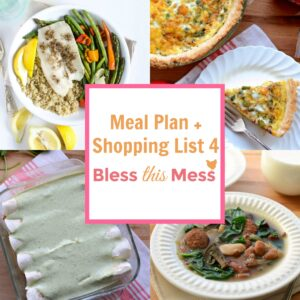 Family Meal Plan 4 with Printable Shopping List