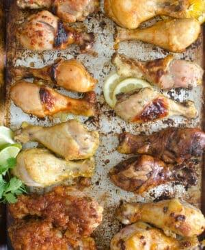 Pan of 8 different chicken legs