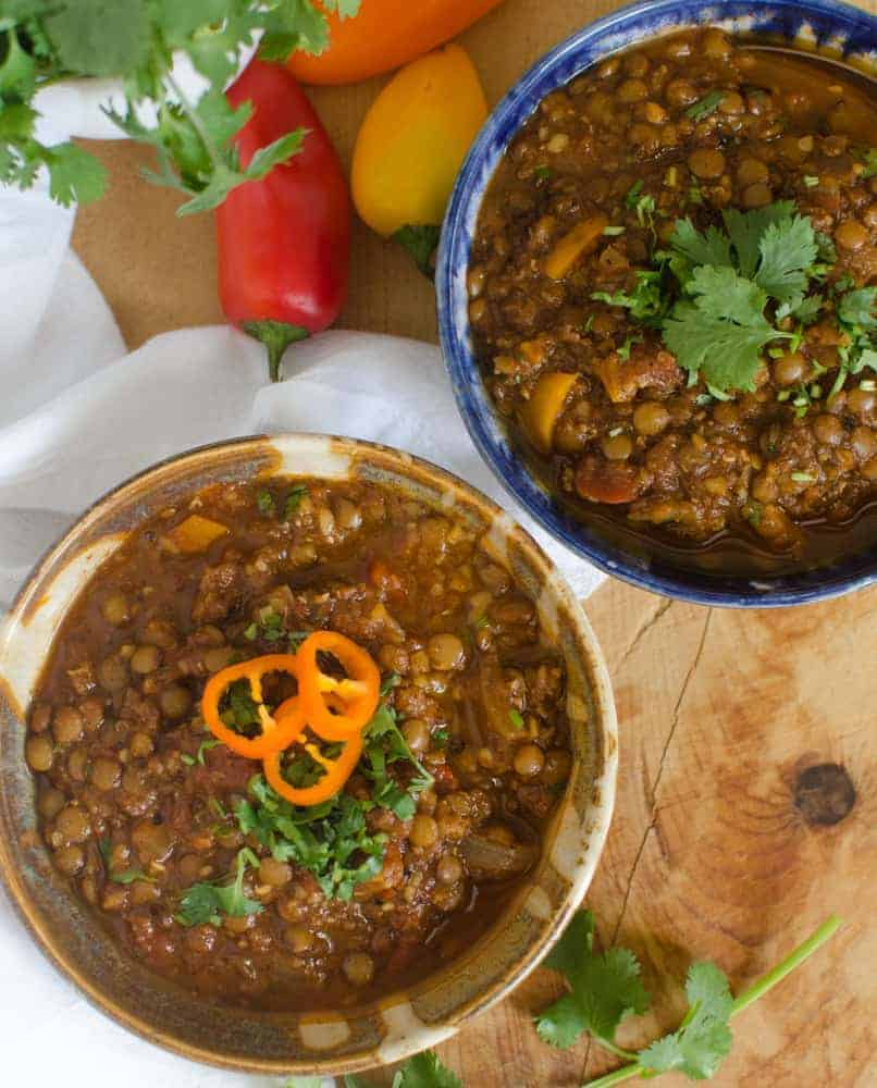 Two bowls of lentil chili