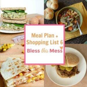 Healthy Meal Plan and Printable Shopping List, Week 6