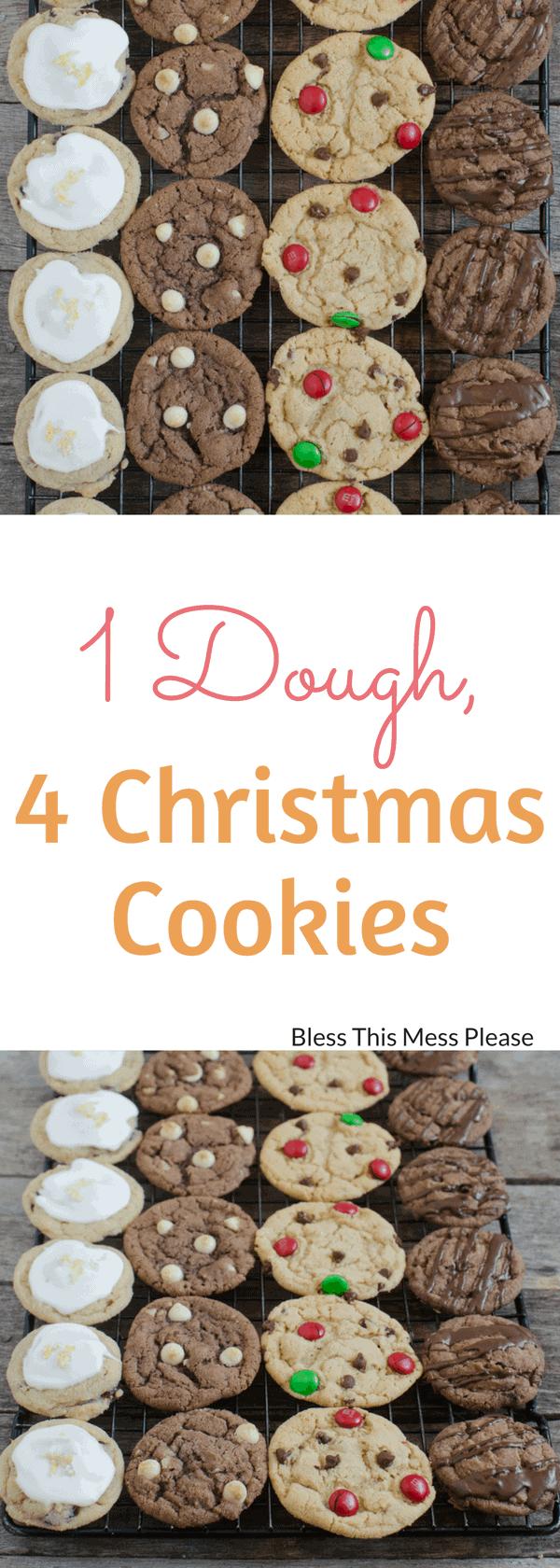 1 Dough, 4 Christmas Cookies