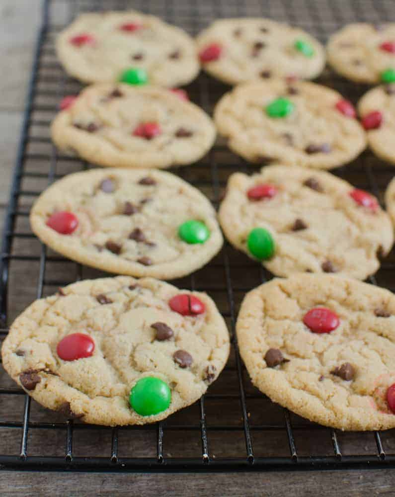 m&m cookies with mini chocolate chips