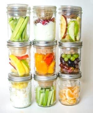 Image of healthy snacks in mason jars