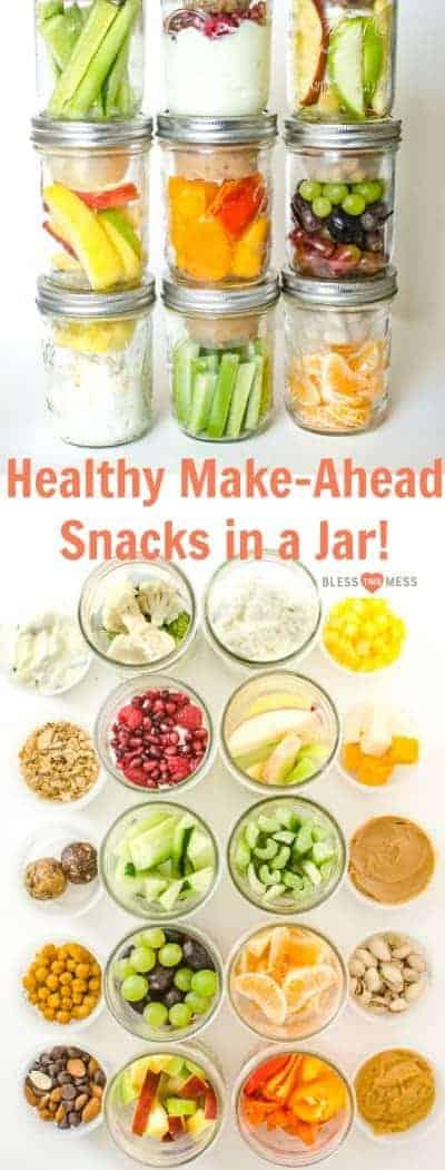 3 stacks of 3 jars with healthy snacks, 10 jars of healthy snacks with ingredients next to the jars