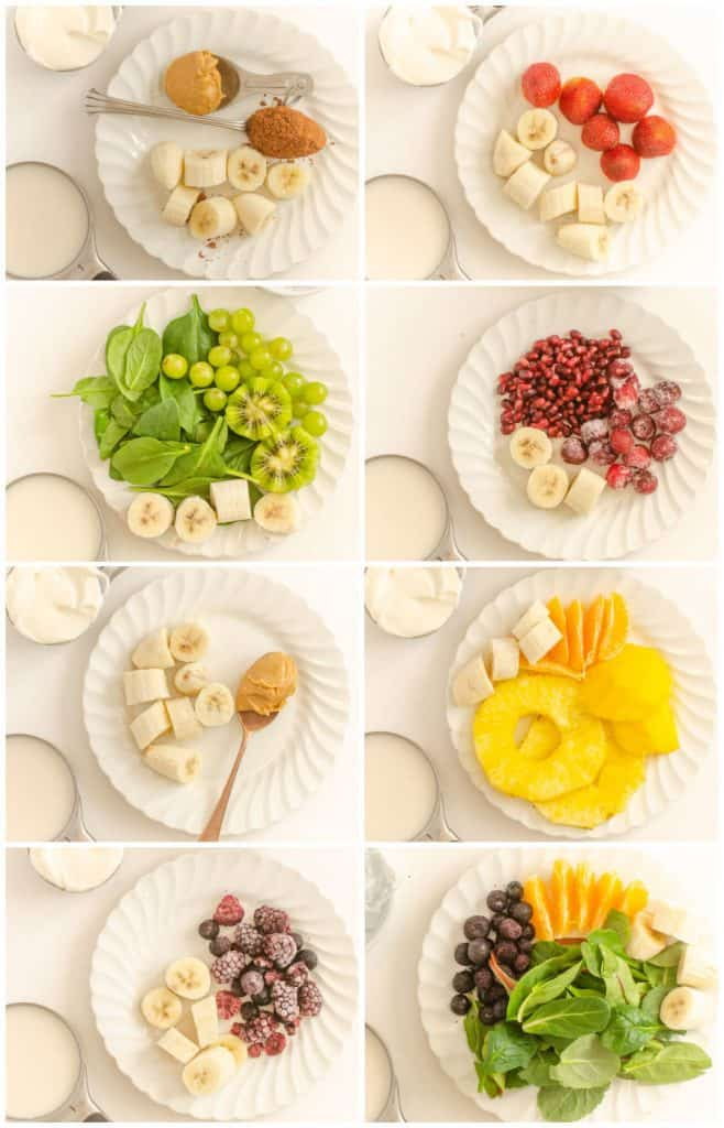 8 Pictures of plates with different ingredients on them for smoothies