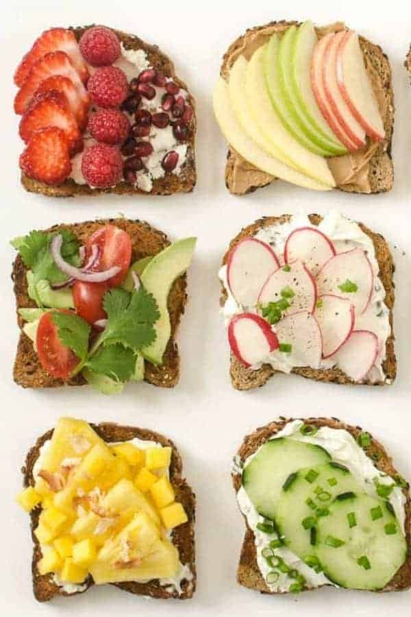 6 slices of toast with a variety of healthy toppings