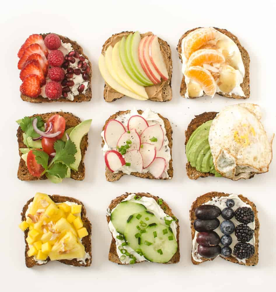 9 sweet and savory healthy toast ideas that are simple, colorful, and filling enough to make into a meal.