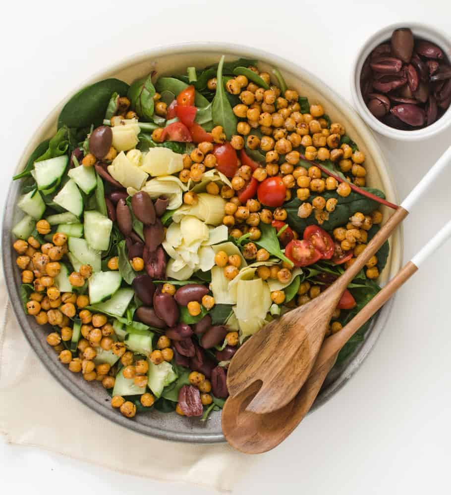 Filled with roasted chickpeas, cucumbers, olives, and artichoke hearts, this Mediterranean Salad is sure to be a favorite.