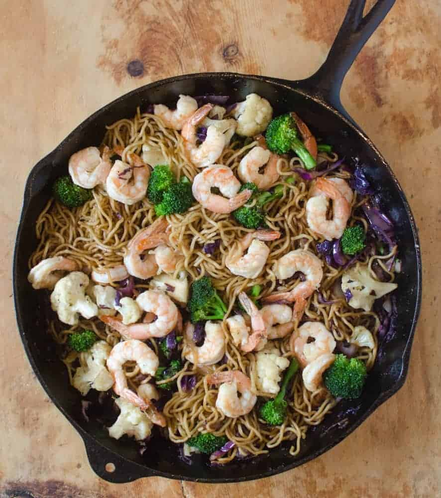 This Shrimp Noodle Stir Fry tastes just like the little packets of ramen you get at the grocery store, but without all the artificial ingredients!