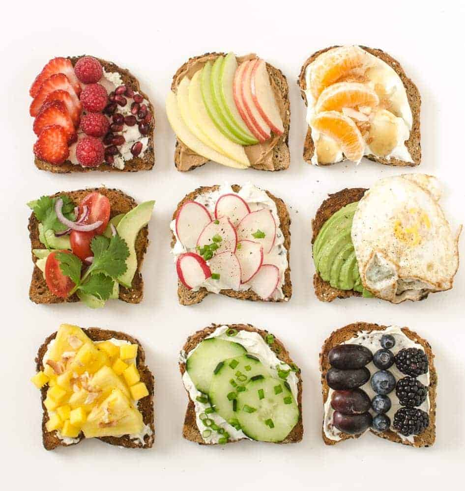9 Simple, Sweet and Savory Healthy Toast Ideas that are simple, colorful, and filling enough to make into a meal.