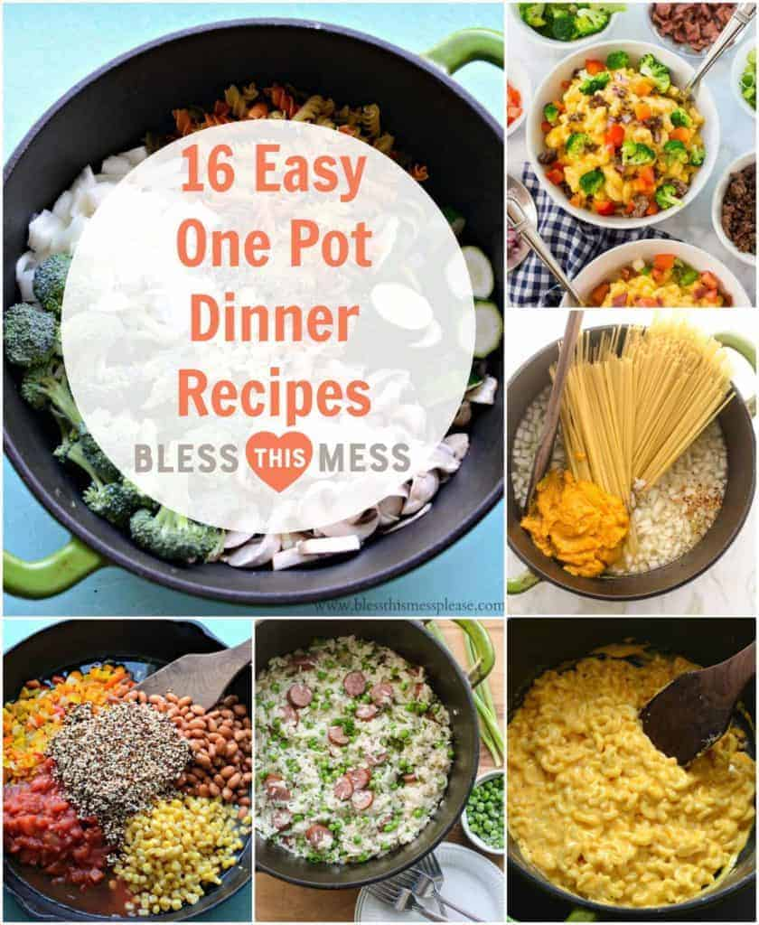 Title Image for 16 Easy One Pot Dinner Recipes and six examples of easy one-pot recipes