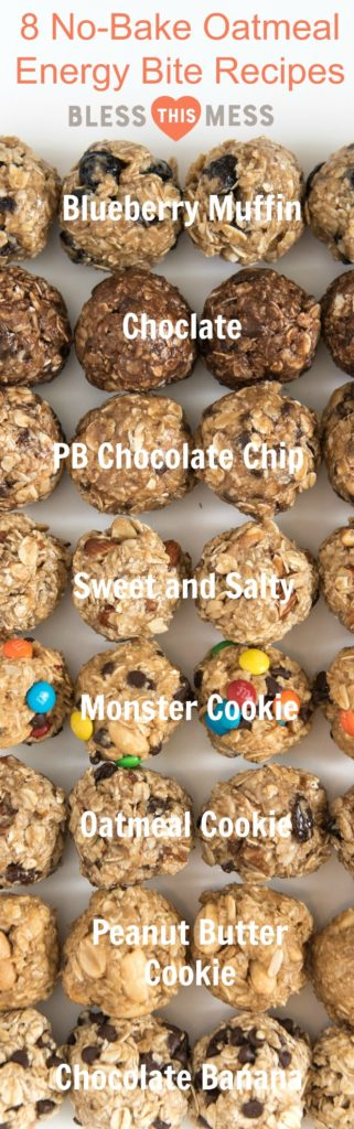 Title Image for 8 No-Bake Oatmeal Energy Bites Recipes with examples and titles for each variety