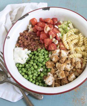 Bowl of chicken bacon ranch pasta salad