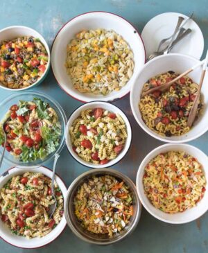 8 different bowls of pasta salad