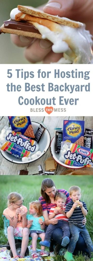 Title Image for 5 Tips for Hosting the Best Backyard Cookout Ever with a images of bowls with Smores ingredients of graham crackers, marshmallows, and chocolate, a complete Smore, and a woman with four children eating Smores in a grassy field