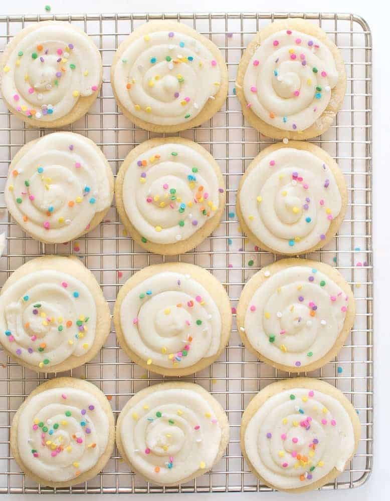 Greek Yogurt Sugar Cookies are the softest, fluffiest sugar cookies of all time, and they keep their shape super well. The not-so-secret secret ingredient? Greek yogurt, of course!