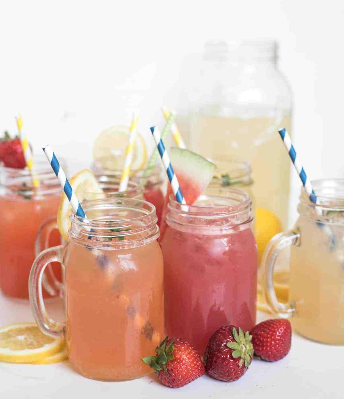 8 Different Homemade Lemonade Recipes all in one place! Learn how to make lemonade with fresh lemons or lemon juice in varieties like strawberry lemonade, raspberry lemonade, and even watermelon and tropical lemonade.
