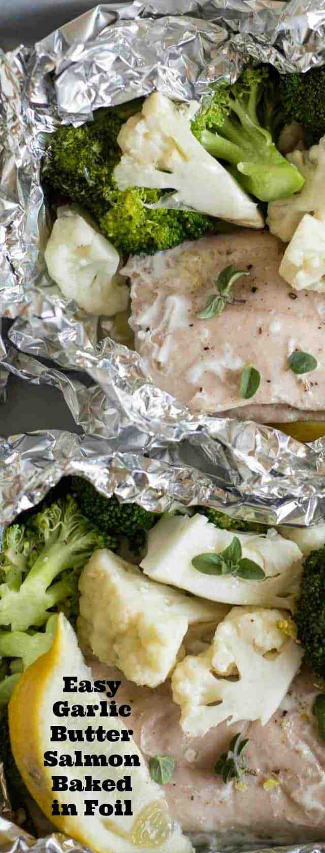 Quick and easy garlic butter baked salmon in foil with broccoli and cauliflower makes an easy dinner recipe that is done in about 20 minutes.