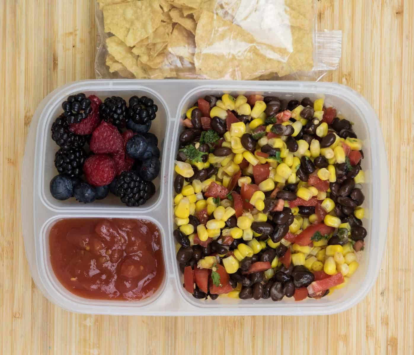Lunch Box Ideas - Corn and Bean Chip Dip Lunch Box