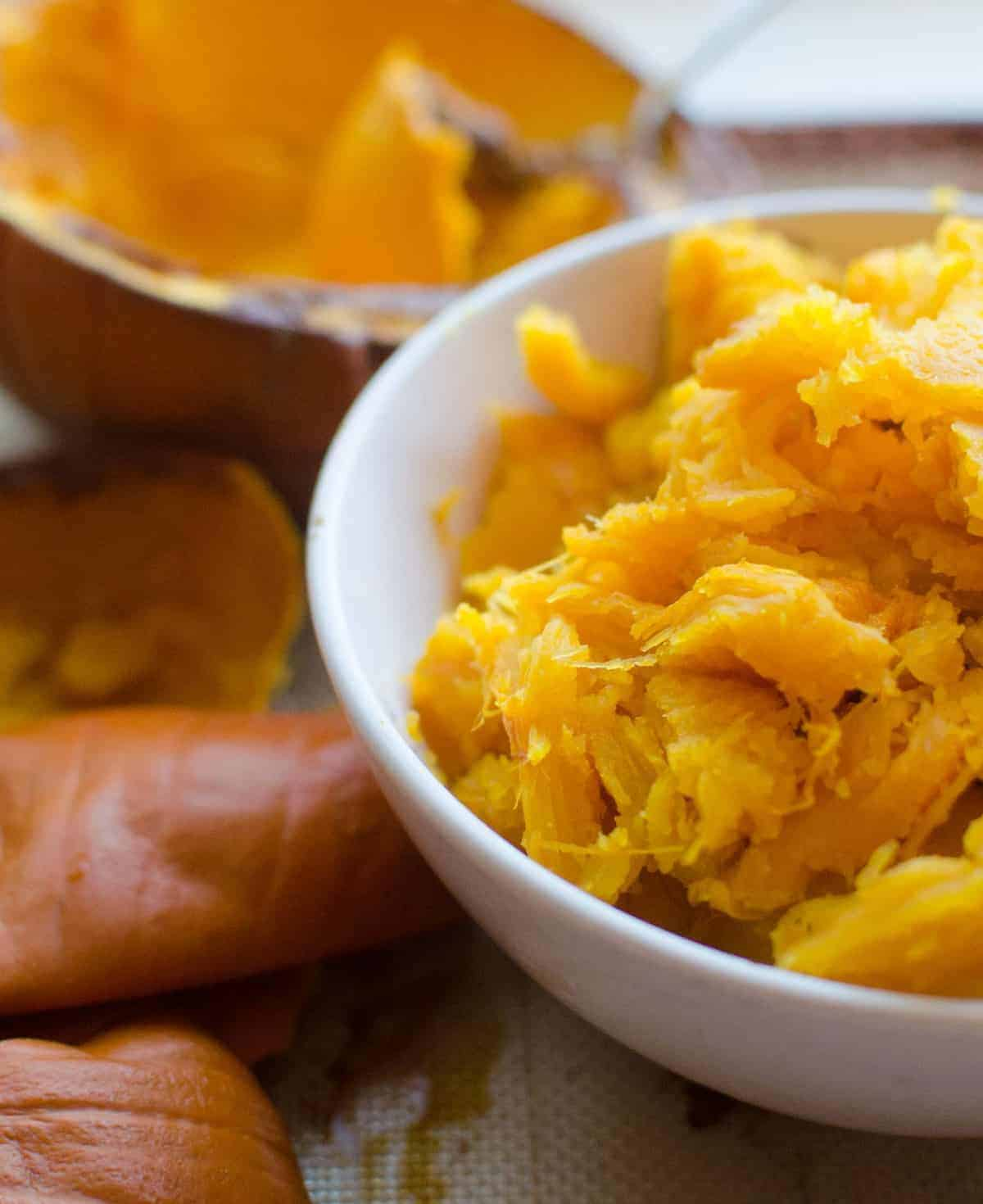Homemade pumpkin puree is as simple as roasting, scooping, and blending a fresh pumpkin into a simple puree. You are going to love it's bright color, smooth texture, and simple preparation.